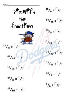 LA Dodgers Baseball-Fractions, Decimals, and Percents