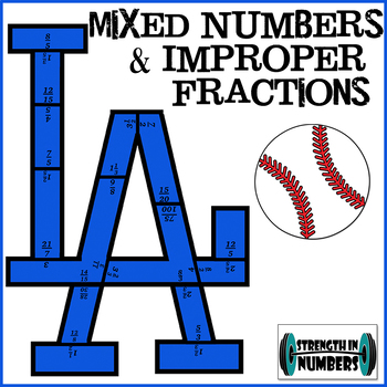 LA Dodgers Baseball Puzzle - Equivalent Fractions/Mixed Numbers