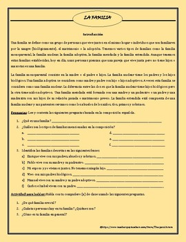 LA FAMILIA - SPANISH VOCABULARY AND ACTIVITIES