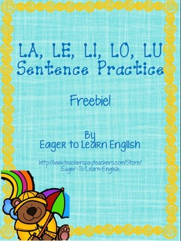 Las Sílabas/Syllables LA, LE, LI, LO, LU Sentence Practice FREEBIE