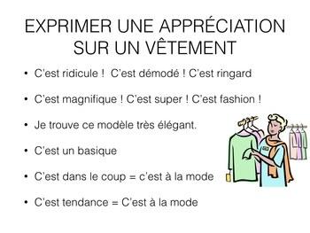 LA MODE - l'appréciation - la description (POWER POINT)