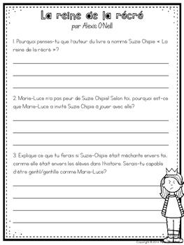 LA REINE DE LA RÉCRÉ - Comprehension Activities & Bullying