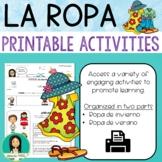 LA ROPA  - Spanish Clothing Printable Activities