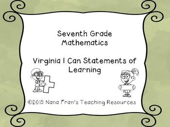 Seventh Grade Mathematics Virginia SOL Sage Green Background