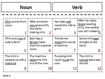 LA Sorts for Interactive Learning: Parts of Speech Noun, Verb, Describing Word