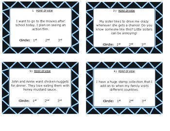 LA Task Cards-includes: 4 cards of each: POV, Fact/Opinion, Inference & Setting