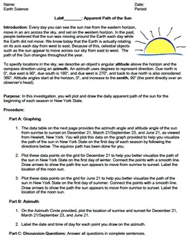 LAB - Apparent Path of the Sun (with PowerPoint)