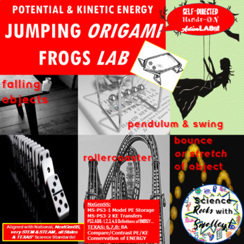 Potential & Kinetic Energy- Jumping Origami FROGS LAB w FREE Extras!
