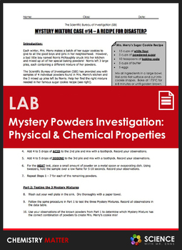 LAB - Mystery Powders - Physical and Chemical Properties of Matter