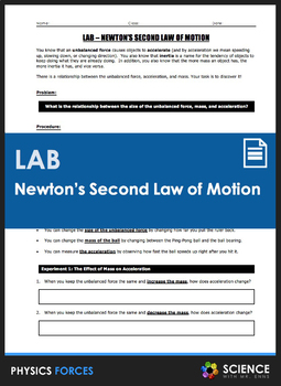 LAB - Newton's Second Law of Motion - Relating Mass, Force, and Acceleration
