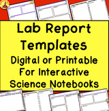LAB REPORT TEMPLATES Digital Science Interactive Notebook Printables