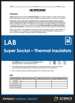 LAB - Super Socks! - Insulating Properties of Sock Materials