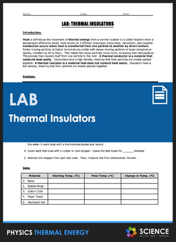 LAB - Thermal Insulators and Conduction