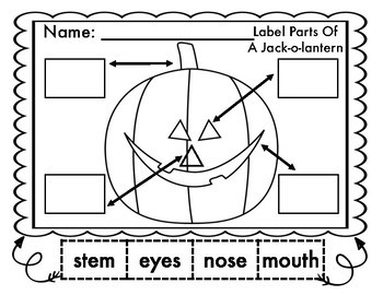 LABEL THE PARTS OF A BAT, JACK-O-LANTERN, WITCH, AND CANDY CORN
