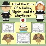LABEL THE PARTS OF A TURKEY, PILGRIM, AND THE MAYFLOWER