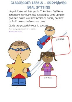 LABELS - BACK TO SCHOOL GOAL SETTING AND BLANK - SUPERHERO