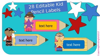 BACK TO SCHOOL LABELS - KIDS PENCILS 28 EDITABLE