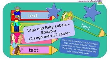 BACK TO SCHOOL LABELS - LEGO AND FAIRY PENCILS - EDITABLE