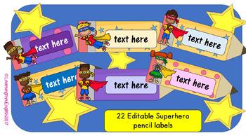 BACK TO SCHOOL LABELS - SUPERHERO KIDS PENCILS - EDITABLE