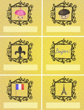 LABELS editable - Paris, France themed - classroom organization - 8.5x11