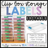 LABELS for Sterilite Large File Clip Box Clear Storage Container EDITABLE