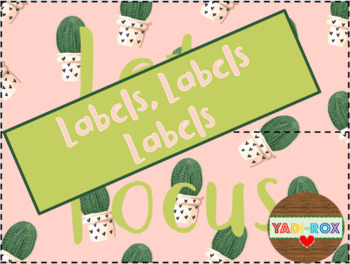 LABELS for Supplies and Bulletin Boards Posters - Cactus