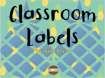 LABELS for Supplies and Bulletin Boards - Pineapple