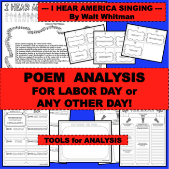 LABOR DAY AND MORE Fun Activity I HEAR AMERICA SINGING Poem for Poetry Study