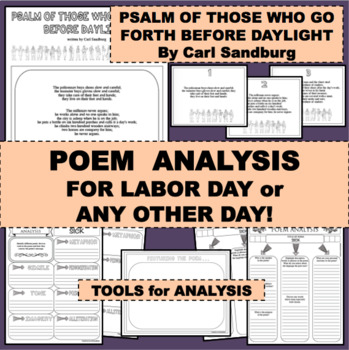 LABOR DAY AND MORE Fun Activity PSALM FOR THOSE Poem for Poetry Study