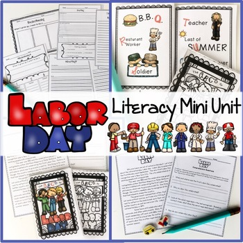 LABOR DAY LITERACY MINI UNIT DECODABLE BOOK WRITING ACTIVI