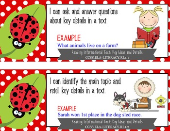 "LADY BUGS - 1st Grade Common Core Standards ""I CAN"" format / posters"