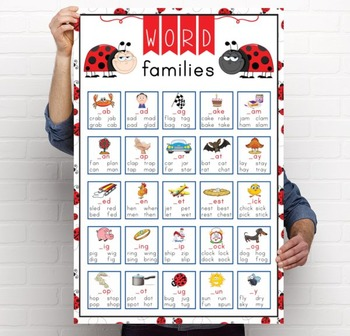 LADY BUGS - Classroom Decor: Language Arts, Word Families POSTER - size 24 x 36