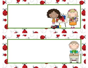 LADY BUGS - Schedule Cards / editable MS WORD / Illustrated