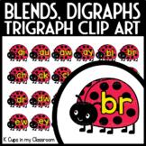 LADYBUG Blends, Digraphs, Trigraphs Tiles Clip Art {Moveable Pieces}