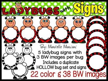 LADYBUG CLIP ART- LADYBUGS WITH SIGNS CLIP ART- 60 IMAGES- CU