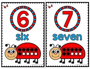 LADYBUG Math Number Posters 0 - 10