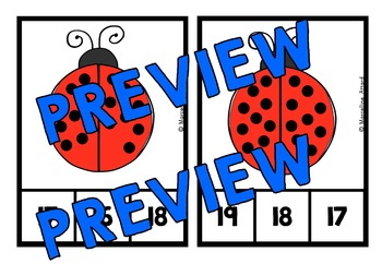 LADYBUGS COUNTING CENTER: KINDERGARTEN COUNTING CLIP CARDS: NUMBERS 1-20