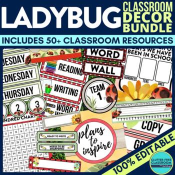 LADYBUGS THEME Classroom Decor - EDITABLE Clutter-Free Cla