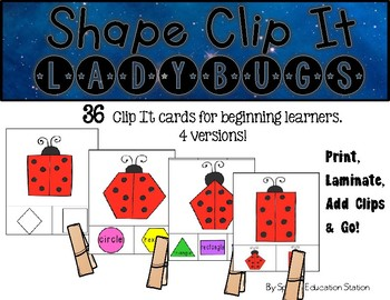 LADYBUGS Shape Clip It {A Beginning Work Task)
