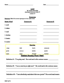 Journeys Common Core 5th - LAFF Supplemental Packet for the SLP