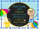 LAFS FLA STANDARDS GR 1 LANGUAGE Learning Goals, 2 SETS OF RUBRICS, DOK Levels
