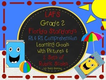LAFS FLA Gr 2 RI & RL Learning Goals with 2 SETS of RUBRICS & DOK Levels