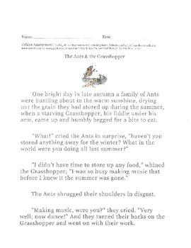 LAFS Grade 3 Fable test/quiz/assessment