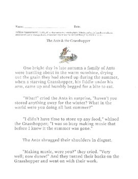 LAFS Grade 3 Fable test/quiz/assessment
