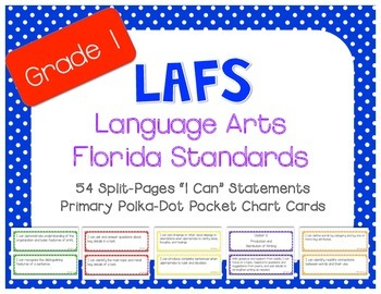 "LAFS ""I Can"" Statement Cards Polka-Dots (*NEW* Language Arts Florida Standards)"