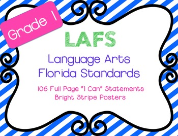 "LAFS ""I Can"" statements Stripes {NEW Language Arts Florida Standards}"