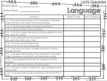 LAFS - Language Arts Florida Standards {Kindergarten - Turquoise Chevron}