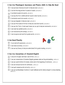 """LAFS & MAFS """"I Can"""" Checklists for Florida's 1st Graders"""