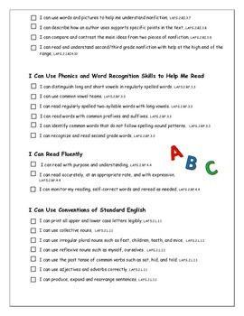"""LAFS & MAFS """"I Can"""" Checklists for Florida's 2nd Graders"""