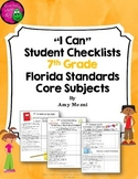 "LAFS, MAFS, & NGSSS ""I Can"" Student Checklists for 7th Grade Florida Standards"